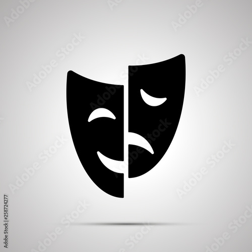 Obraz na plátně Happy and sad drama mask silhouette, simple icon