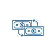 Currency exchange line concept icon. Currency exchange flat vector website sign, outline symbol, illustration.