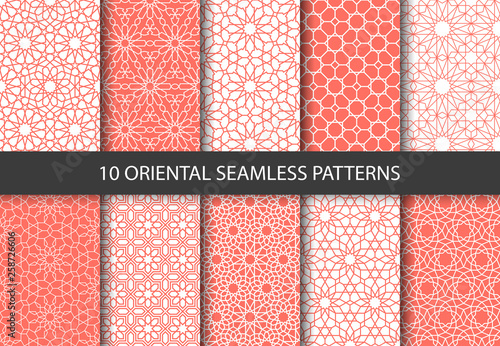 Spoed Foto op Canvas Kunstmatig Vector set of 10 ornamental seamless patterns in coral color. Collection of geometric patterns in the oriental style. Patterns added to the swatch panel.