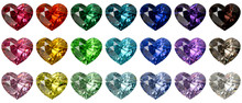 Set Of Multi Colored Heart Cut Diamonds Isolated On White Background