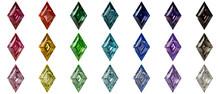 Set Of Multi Colored Lozenge Cut Diamonds Isolated On White Background