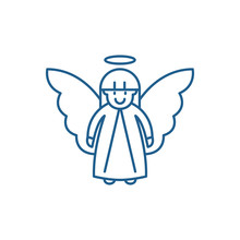 Easter Angel Line Concept Icon...