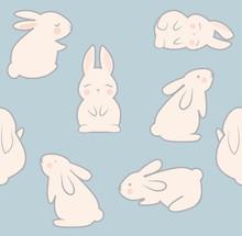 Bunny Seamless Pattern Vector Illustration. Cute Bunnies Textile Design.