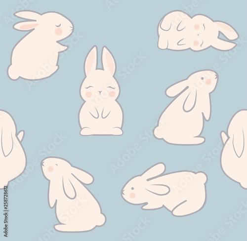 Bunny seamless pattern vector illustration Canvas Print