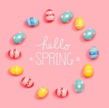 Hello Spring Message With Roun...