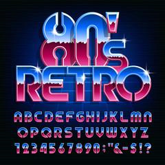 Czcionka alfabetu retro 80s. Kolorowe błyszczące litery i cyfry. Wektor maszynopis do projektowania w stylu lat 80-tych.