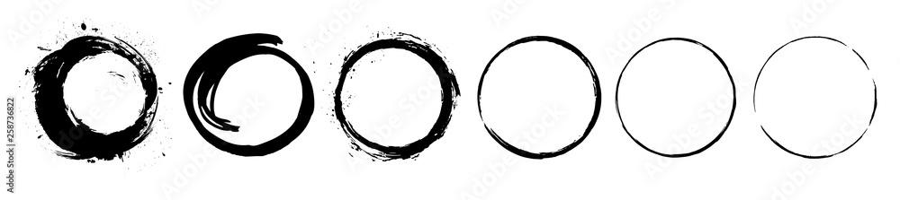 Fototapety, obrazy: Abstract black paint brushstroke circles pack. Enso zen ink brush style symbol set.