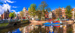 canvas print picture - Romantic canalas of Amsterdam. Travel in Holland