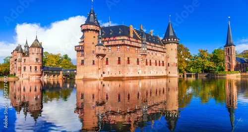 beautiful romantic castle De Haar with splendid parks . Holland