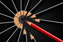 Business Concept Of Disruption, Leadership Or Think Different; Red Pencil Breaking Apart Circle Of Black Pencils