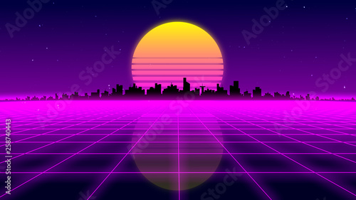 Retro 1980s synthwave glowing neon lights plane with sun and city skyline Wallpaper Mural