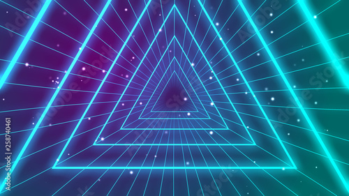 Fotografia  Retro 1980s synthwave glowing neon lights triangle tunnel