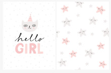 Hello Girl. Cute Baby Shower Vector Card And Lovely Starry Pattern. Sweet Gray Cat Wearing Party Hat. Pink And Gray Smiling Stars Isolated On A White Background. Bright Abstract Nursery Art Set.