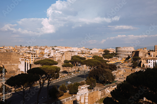 Poster Panoramic view of city Rome with Roman forum and Colosseum from Vittoriano