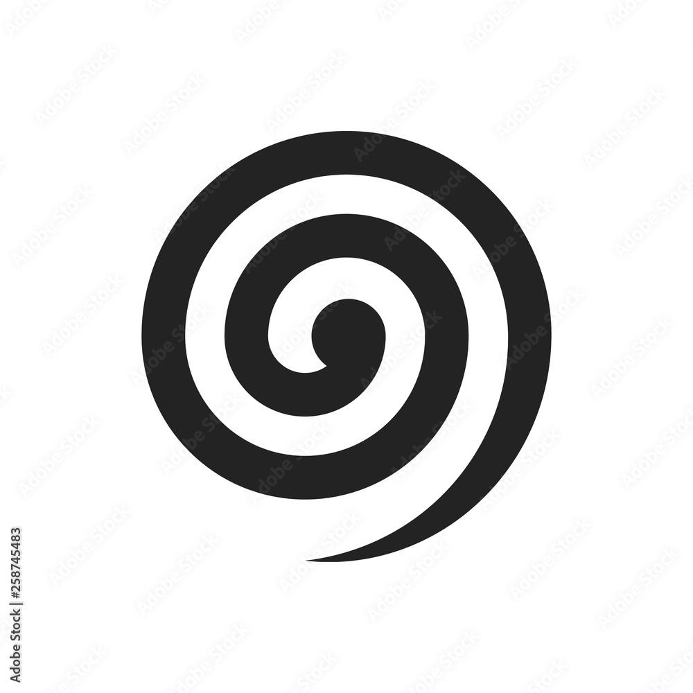 Fototapeta Black spiral illustration. Vector. Isolated.