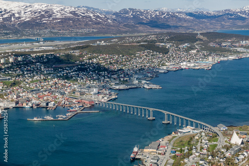 spectacular view over over Tromsoe and Tromsoe fjord in early spring, northern Norway, Scandinavia, Europe