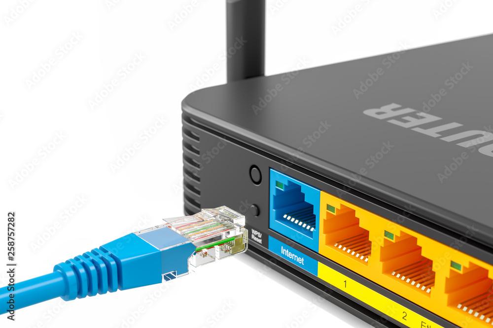 Fototapeta LAN connector plugging in LAN port internet wireless router back side panel 3d