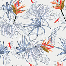 Beautiful Summer Bird Of Paradise And Exotic Flower And Leaves Seamless Pattern Line Hand Drawn Style