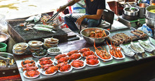 Preparing Seafood On The Boat In Thailand.