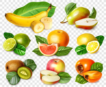 Eight Fruits In Realistic Styl...