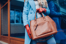 Beauty And Fashion. Stylish Fashionable Woman Wearing Coat And Gloves ,holding Brown Bag Handbag