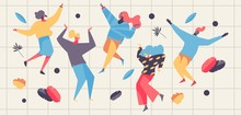 Vector Concept Illustration With Dancing People And Greenery. Happy Freedance Flat Characters In Pastel Colors