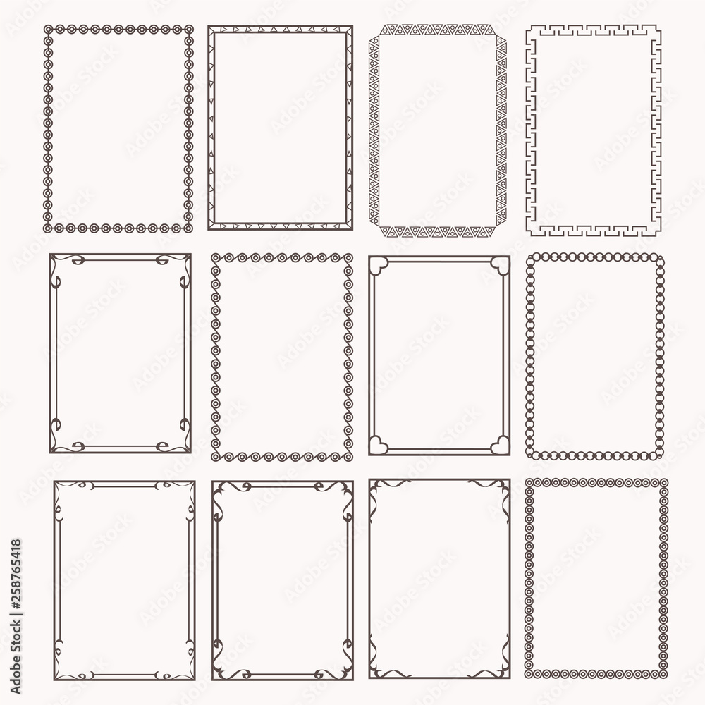 Fototapety, obrazy: Decorative frames and borders rectangle proportions set