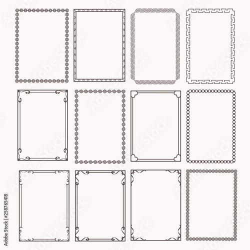Fototapeta Decorative frames and borders rectangle proportions set obraz
