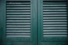 Green Window Shutters Wooden Dark Vintage, Blocking Sunlight