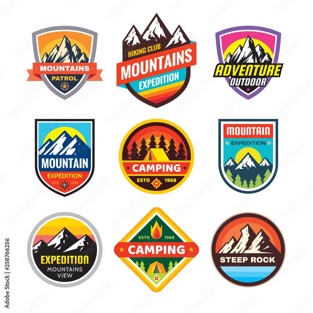 Fototapeta Set of adventure outdoor concept badges, summer camping emblem, mountain climbing logo in flat style. Extreme exploration sticker symbol. Creative vector illustration. Graphic design element.