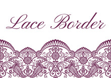 Template Of Card With Red Lace Border On White Background