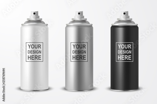 Vector 3d Realistic White Blank Spray Can, bottle Icon Set Closeup Isolated on White Background Wallpaper Mural