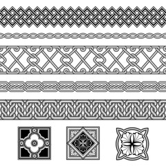 Set of seamless black and white borders and floral corner elements. Interlaced lines. Based on Georgian, Armenian, Arabic styles. Pattern brushes included in EPS file.