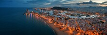 Barcelona Coast Aerial Night V...