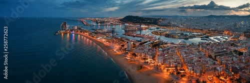 Barcelona Coast aerial night view Canvas Print