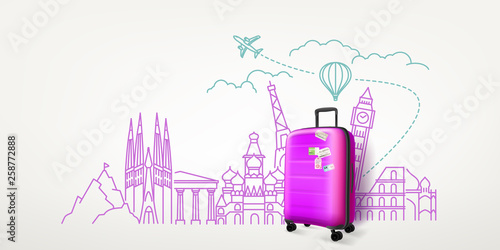 Photoreal violet suitcase with different travel famous sights. World travel vector concept