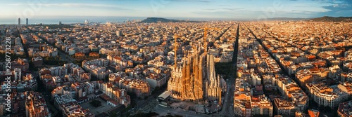 Door stickers Barcelona Sagrada Familia aerial view