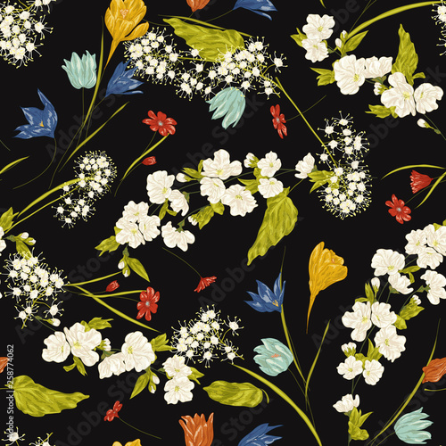 Seamless Vector Floral Pattern Abstract Spring Flowers And