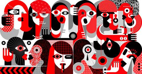 Velika skupina ljudi vektorska ilustracija