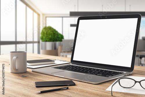 Foto auf Leinwand Indien Empty white laptop