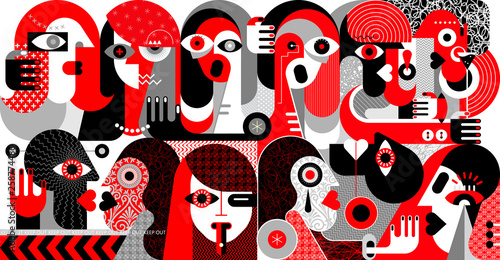 Fotobehang Abstractie Art Large Group of People vector illustration