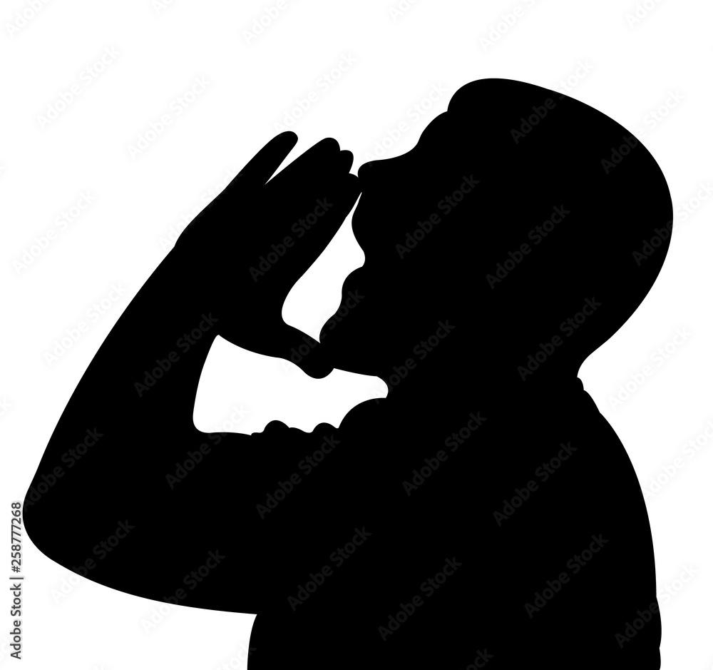 Fototapeta a man cheering , slhouette vector