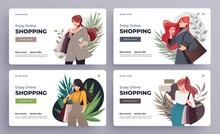 Online Shopping Landing Page Or Banner Templates. Girls With Shopping, Packages. Flat Happy Female Characters With Shopping Bags. Vector Illustration