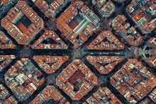 Barcelona Street Aerial View