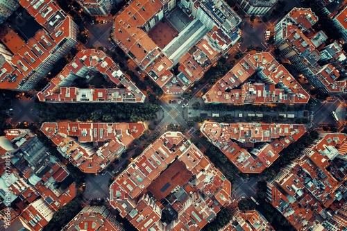 Foto op Canvas Barcelona Barcelona street aerial View