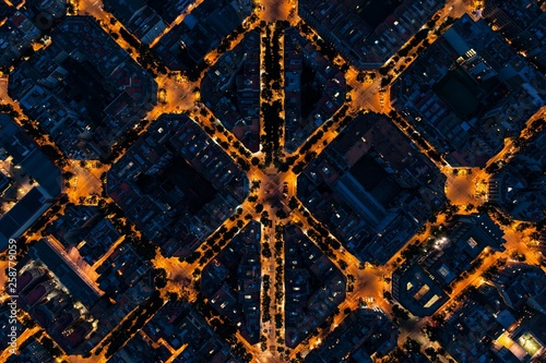 Photo Stands Barcelona Barcelona street night aerial View