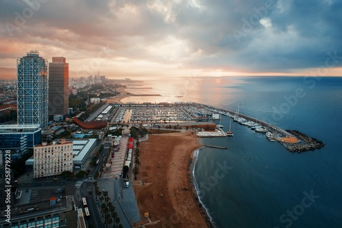 Foto auf AluDibond Barcelona Barcelona Coast aerial sunrise view