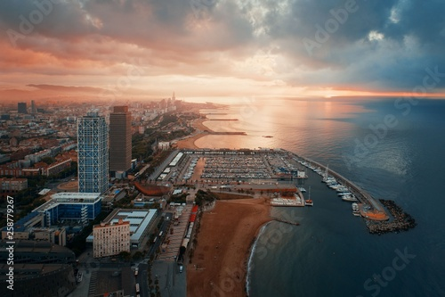 Photo  Barcelona Coast aerial sunrise view