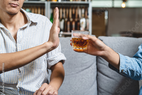Tuinposter Bar Stop alcohol concept. Person refuse to drink alcohol.