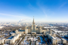 Aerial View Of Lomonosov Moscow State University (MGU, MSU) On Sparrow Hills, Moscow, Russia. Panorama Of Moscow With The Main Building Of University. Beautiful Moscow View From Above In Winter.
